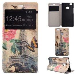 Huawei P9 Lite Hoesje Window View Hoesje Print Eiffel Tower
