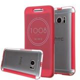 Rood HTC 10 Ice View Smart Fingerproof Hoesje