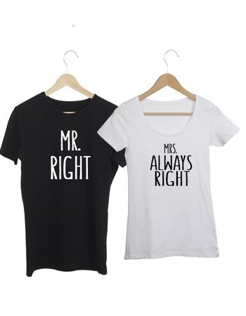 COUPLE T-SHIRT MR EN MRS RIGHT