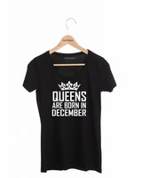 DAMES T-SHIRT QUEENS ARE BORN IN (MAAND)