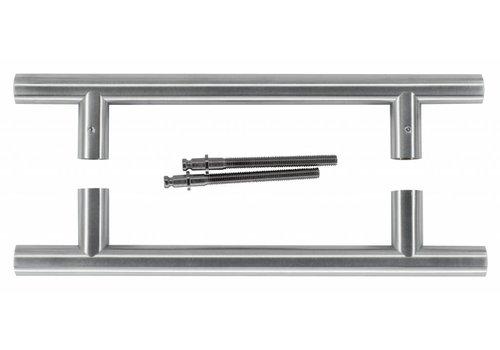 Door handle T 20/200/300 inox plus pair for door thickness> 3 cm