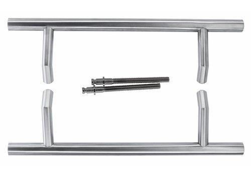 Door handle STCOT 25/300/460 inox plus pair for door thickness> 3 cm
