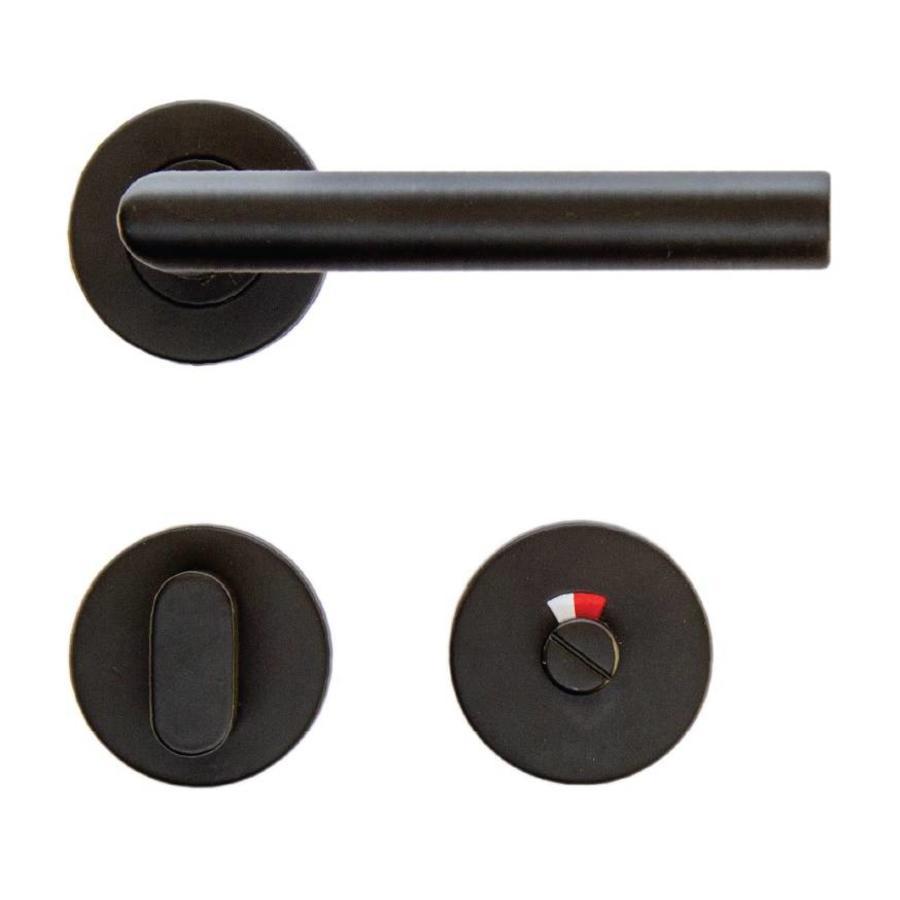 Zwarte deurklinkenset inclusief wc garnituur deurklinkenshop - Deco wc zwart ...