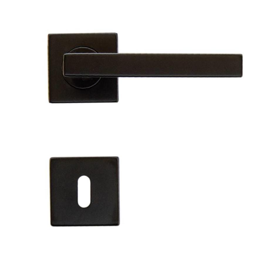 Zwarte deurklinkenset inclusief for Klinken voor binnendeuren