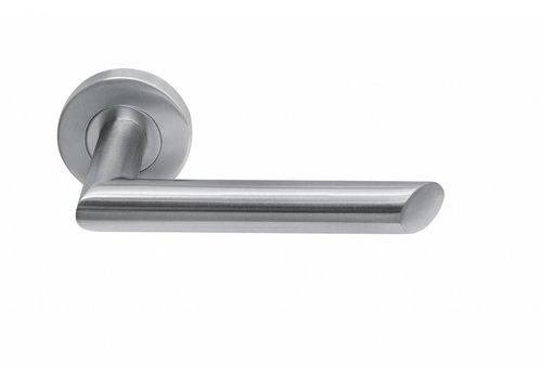 stainless steel door handle rosette around Havana
