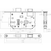 Woningbouw klavier dag- en nachtslot 55 mm, wit, 20 x 175mm, doorn 50mm incl. sluitplaat en 2 sleutels