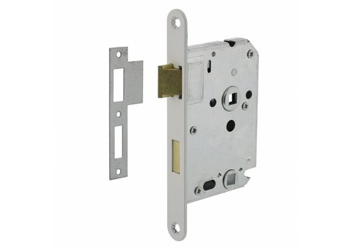 Residential building bathroom / toilet lock 63 / 8mm, white, 20x175mm, thorn 50mm incl. Strike plate