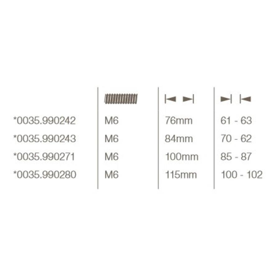 Bout 6-kant 76mm tbv veiligheidsrozet voor deurdikte 61/63mm