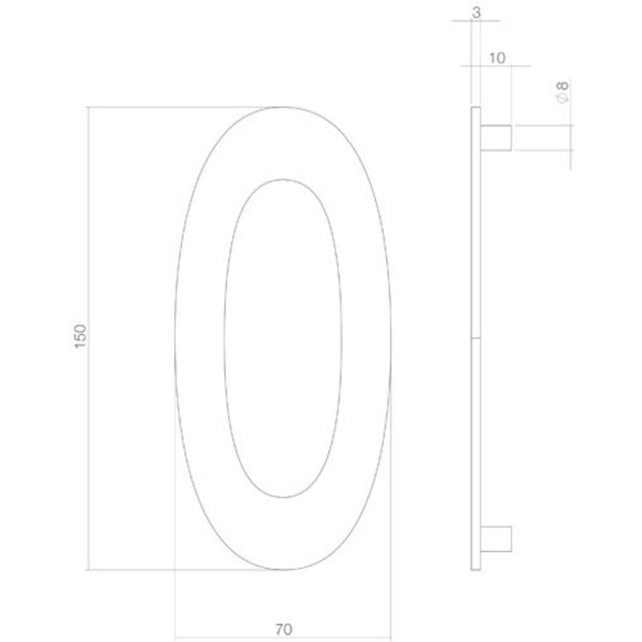 Huiscijfer nr. 0 150mm RVS/mat zwart