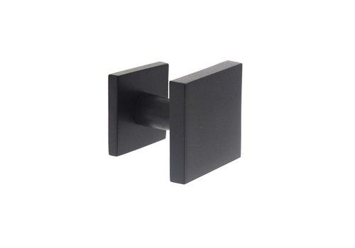 Voordeurknop vast vierkant éénzijdige montage rvs/mat zwart