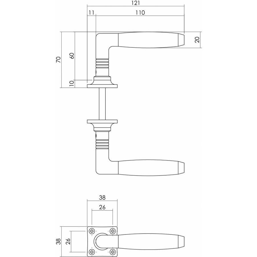 Deurkruk Ton Basic nikkel/ebbenhout met vierkant rozet
