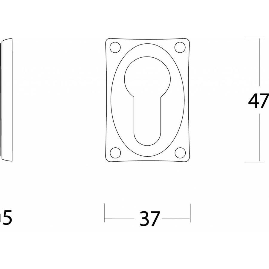 1 Profielcilindergat plaatje vierkant verlengd nikkel mat