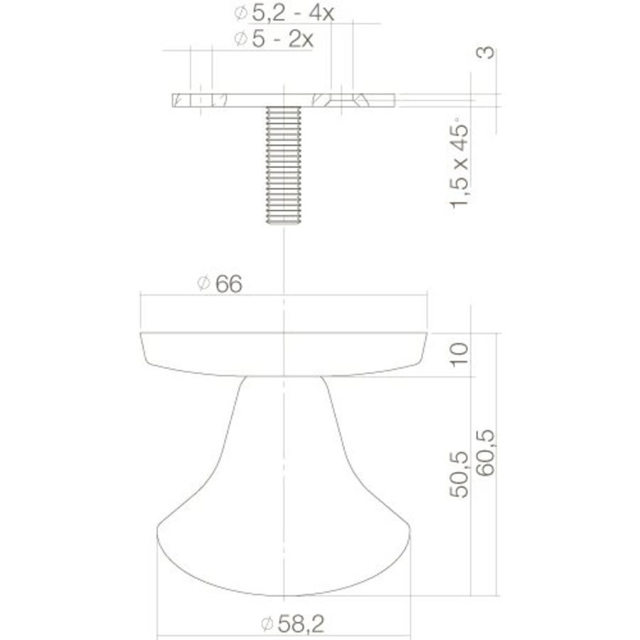 Voordeurknop vast paddestoel 58/66mm éénzijdige montage rvs