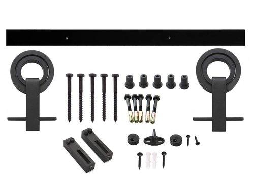 Sliding door system 2 meters, open roller 155mm rolling roller, steel matte black
