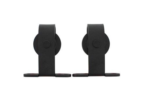 Intersteel Set van 2 rollers recht incl. bevestiging, staal mat zwart