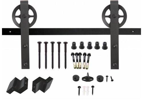 Schuifdeursysteem, hangrollen met spaakwiel 345mm, staal mat zwart voorzijde