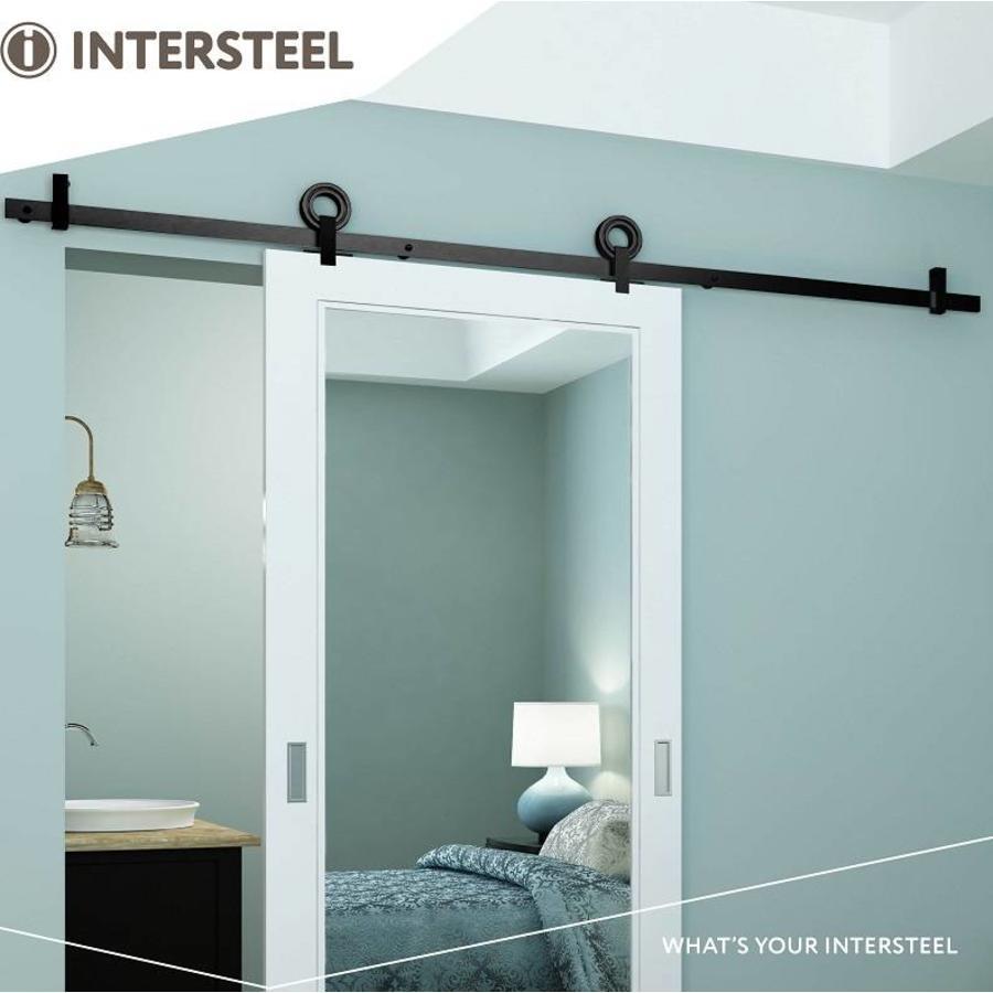 Schuifdeursysteem 2 meter Modern bovenzijde, hangrollen met open wiel 155mm, staal mat zwart