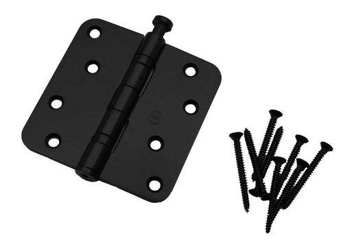 Bullet hinge rounded 89x89x2,5 stainless steel black