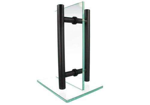 Door handle T 30/300/400 black pair for glass