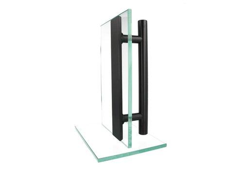 Door handle T + flat 25/300/400 black pair for door