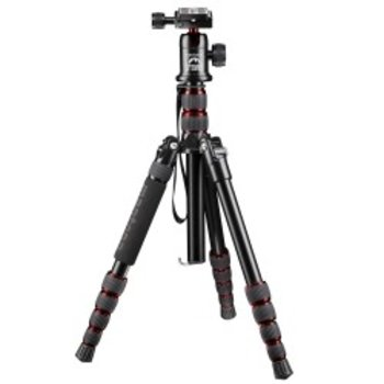 mantona Travel Camera Statief DSLR + Balhoofd, rood