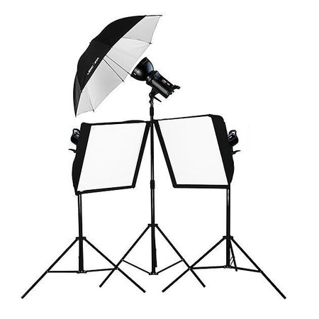 Lencarta Lighting Kit SmartFlash III 900Ws with 2 Softboxes & 1 Umbrella (300/300/300)