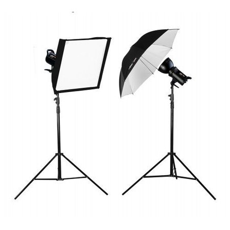 Lencarta Lighting Kit SmartFlash 3 600Ws With 1 Softbox & 1 Umbrella (300/300)
