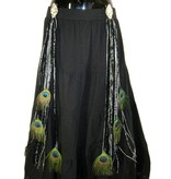 Black Star Peacock hip & hair tassel clip/ hair fall