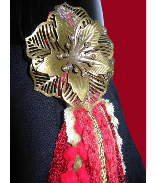 Belly Dance Belt & Hair Red Passion Gold Peacock