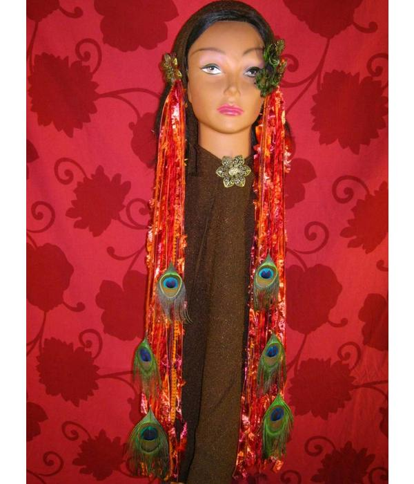 Belly Dance Belt & Hair Bohemian Bonfire Peacock