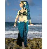 Blue Mermaid belly dance yarn fall