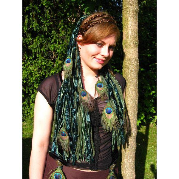 Smaragdfee Pfauenfeder Haarteil