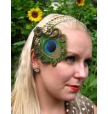 Pfauenfeder Haarclip - altmessing Blüte