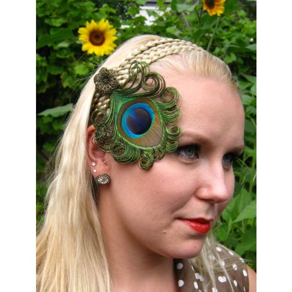 Peacock Fascinator Bronze Flower