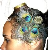 Steampunk Pfauenfeder Headpiece - altmessing Blüte