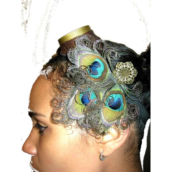 Steampunk Pfauenfeder Headpiece