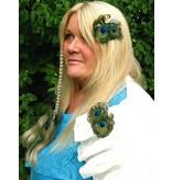Pfauenfeder Schmetterling Haarclip, silber
