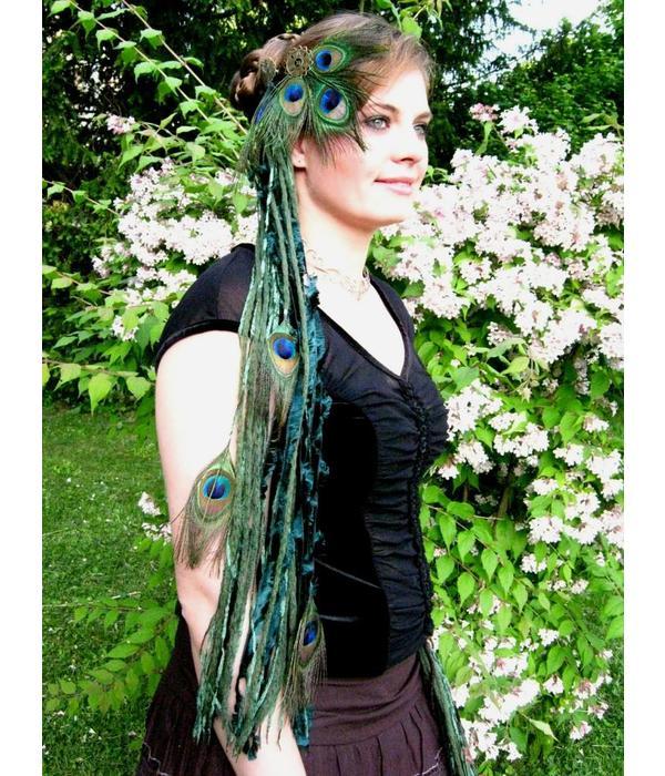 Pfauenfeder Fantasy Haarschmuck