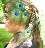 Pfauenfeder Silber Tribal Haarschmuck