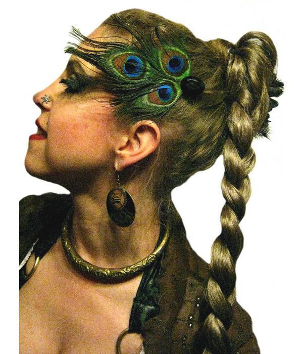 Pfauenfeder Tribal Haarschmuck - schwarz