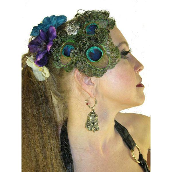Peacock Silver Flower Headpiece