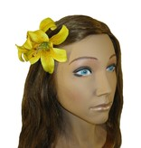 Yellow Double Lily Hair Flower 2 x