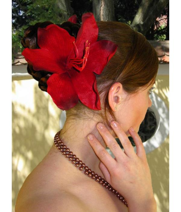 Dark Red Lily Hair Flower 2 x