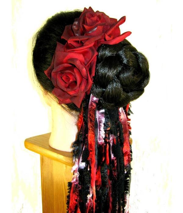 Haarblüte Rose schwarz-rot 2 x