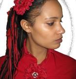 Belly Dance Button Haarblüte dunkelrot 2 x