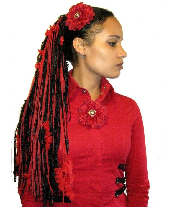 Dark Red Button Hair Flower 2 x