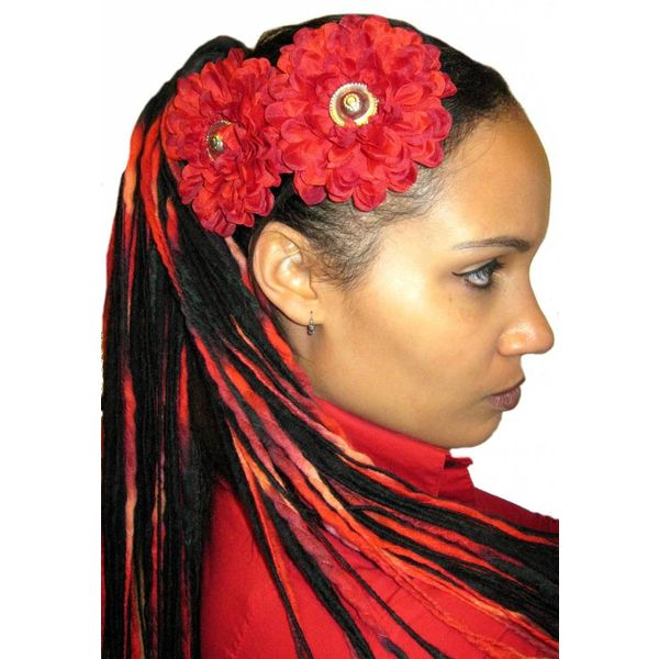 Dark Red Button Hair Flower 2 x