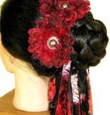 Black Red Button Hair Flower 2 x