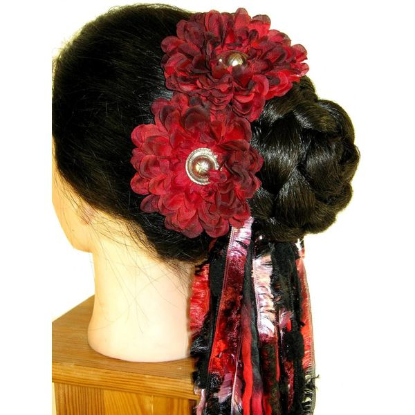 Black Red Button Hair Flower 2 x