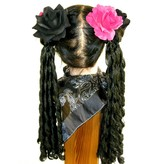 Black & Pink Rose Hair Flowers